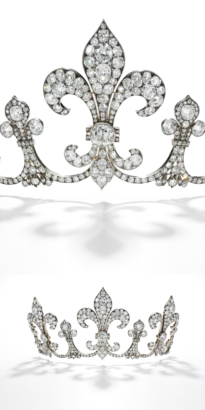 Diamond tiara by Hübner, circa 1912 - one of the Royal Jewels from the Bourbon Parma Family - Sotheby's Geneva 14 Nov 2018