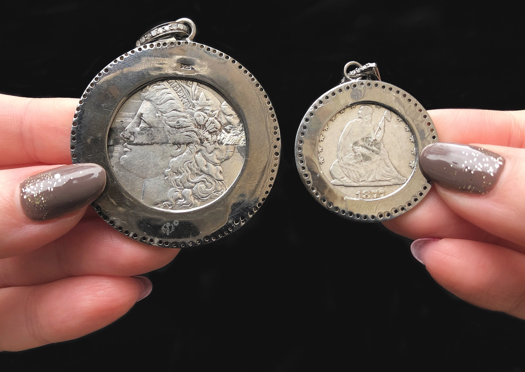 Heavenly Vices collects Victorian era love tokens made from coins and sets them into beautiful jewelry.
