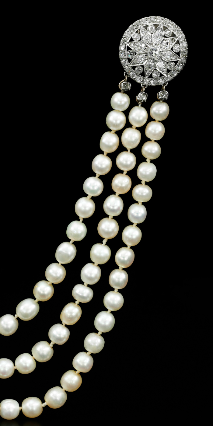 Important natural pearl and diamond necklace previously owned by Marie Antoinette. Royal Jewels from the Bourbon Parma Family - Sotheby's 14 November 2018