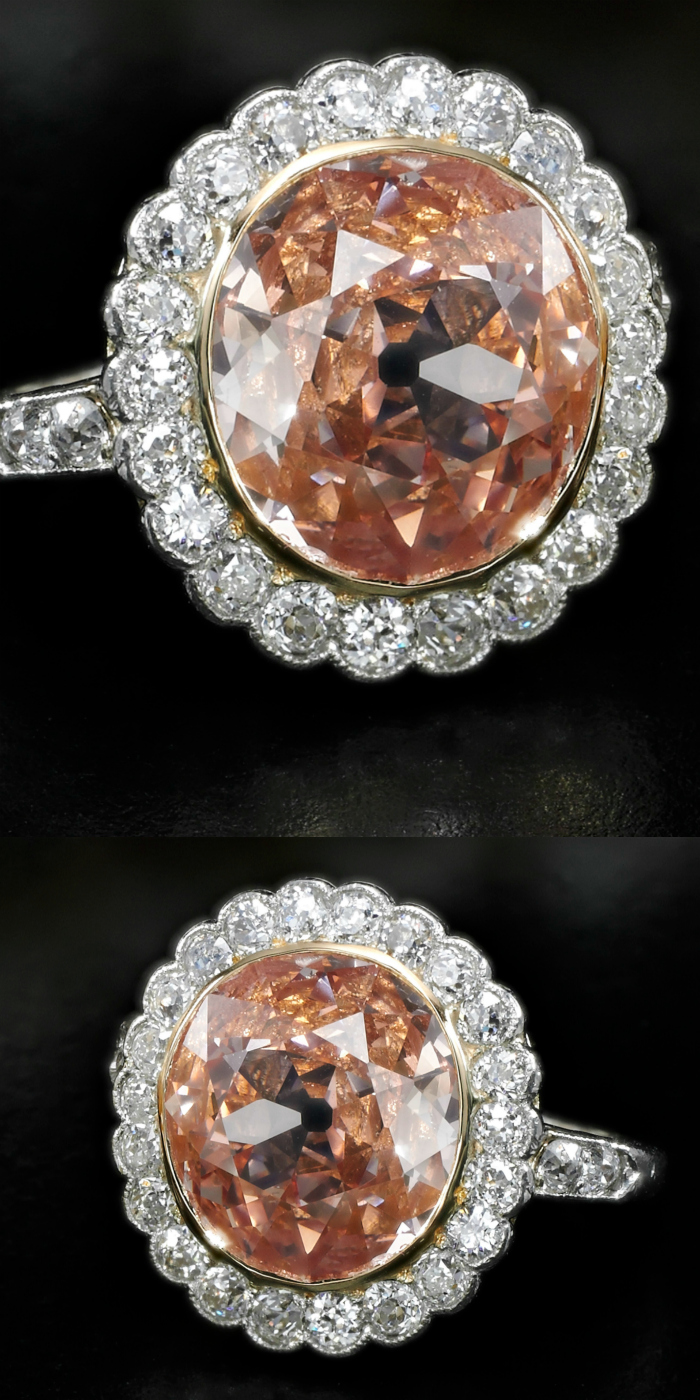Impressive 2.44 carat fancy orangy pink diamond ring - Royal Jewels from the Bourbon Parma Family - Sotheby's 14 November 2018