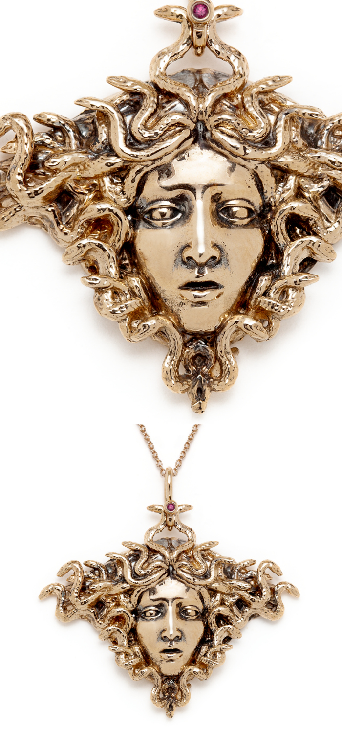 The Medusa necklace by Sofia Zakia. Handmade in 14k yellow gold, with ruby.