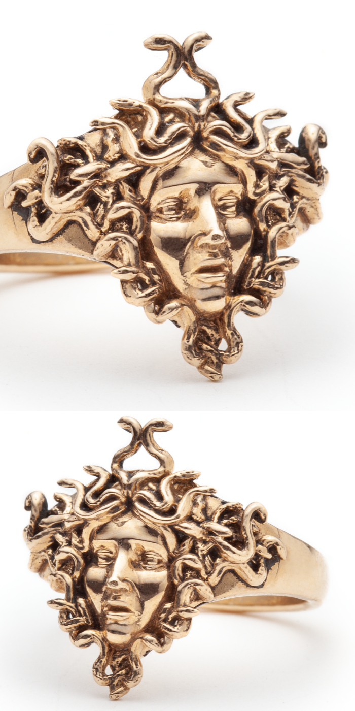 The Medusa ring by Sofia Zakia. Handmade in 14k yellow gold.