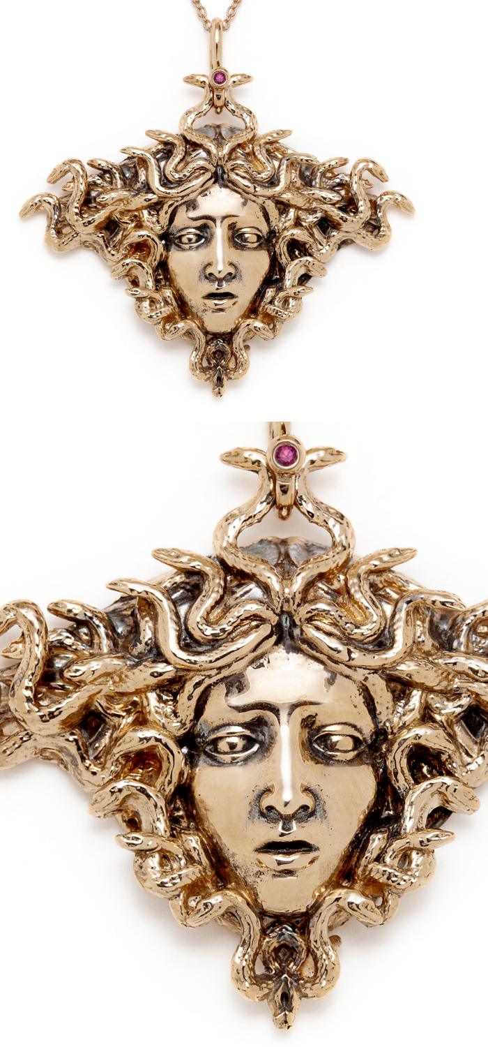 The beautiful Medusa necklace by Sofia Zakia. Handmade in 14k yellow gold, with ruby.