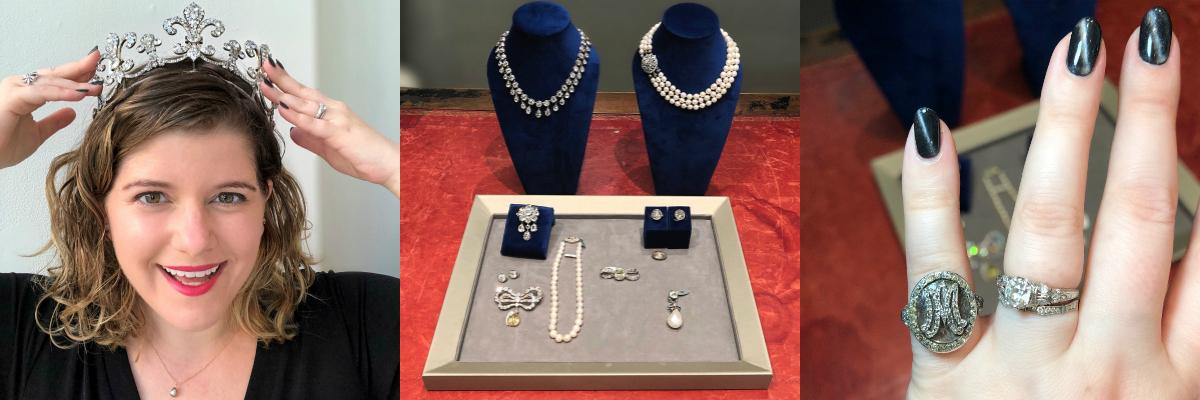 Wearing Marie Antoinette's jewelry.