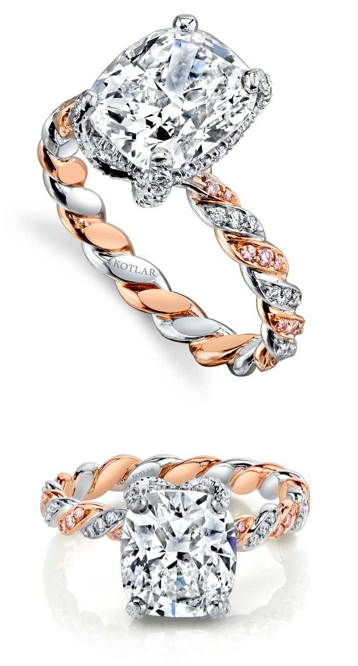 A beautiful engagement ring by Harry Kotlar! I love the rose gold and pink diamond details on the band.