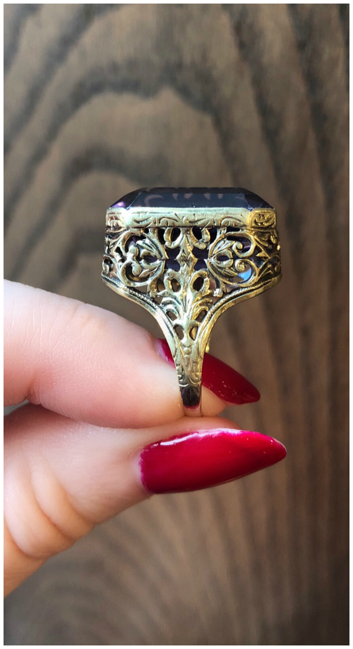 A beautiful vintage amethyst and gold ring from Wilson's Estate Jewelry.