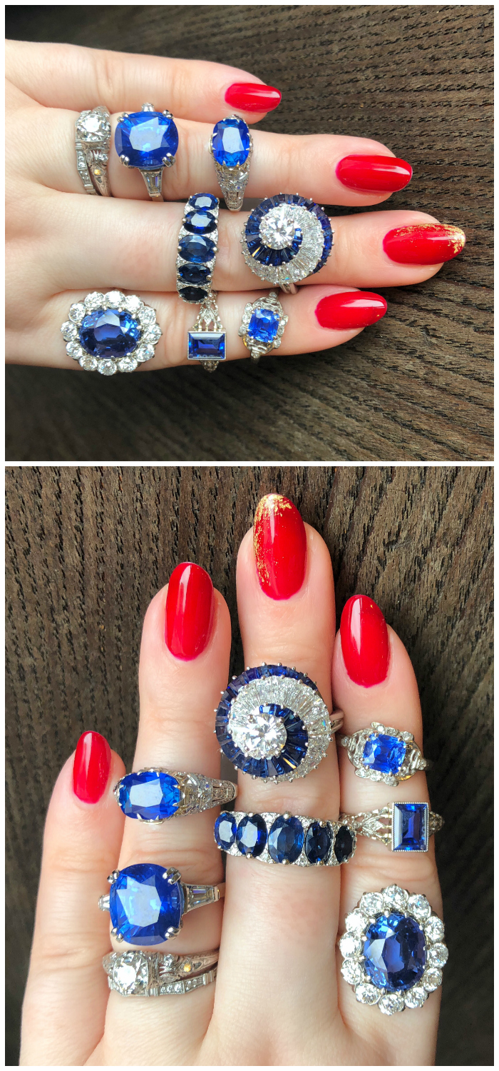 Exceptional blue sapphire rings from Wilson's Estate Jewelry!! Some Art Deco, some vintage, one by Oscar Heyman, all exquisite.