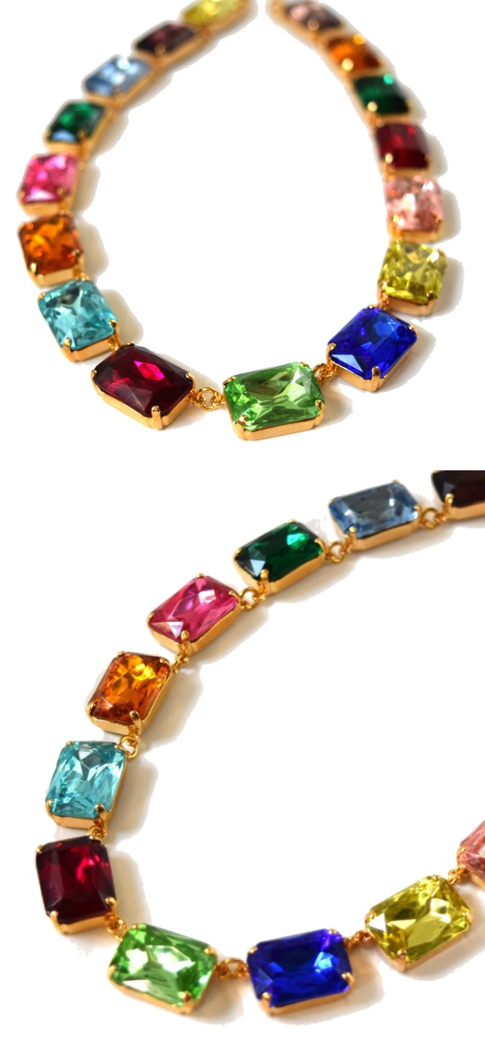 I am obsessed with this rainbow necklace from Dames a la Mode!! So fun and super affordable, too.