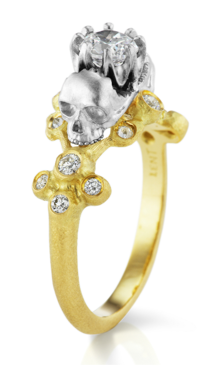 I love this Anthony Lent engagement ring! Those skulls are so beautiful and unique.