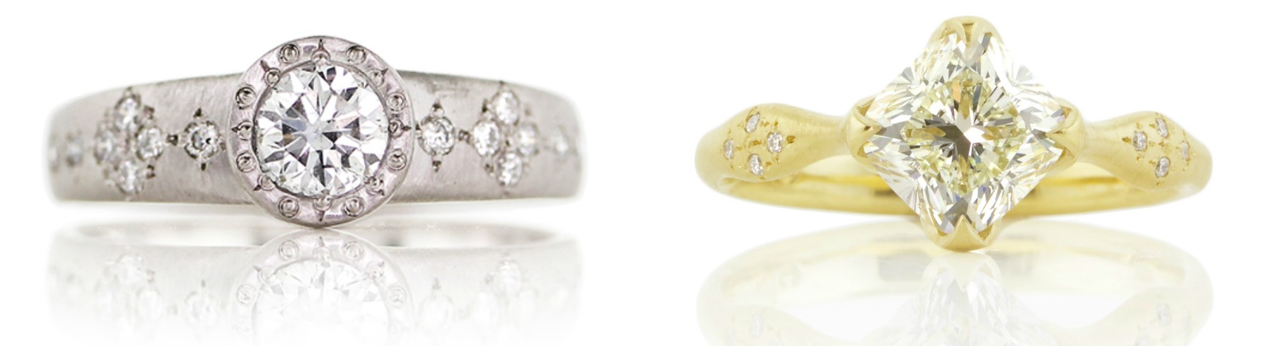 Two beautiful diamond engagement rings by Adel Chefridi.
