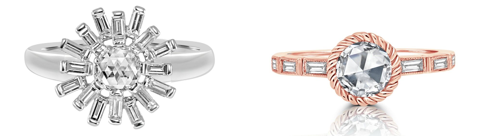 Two beautiful engagement rings by Vivaan.