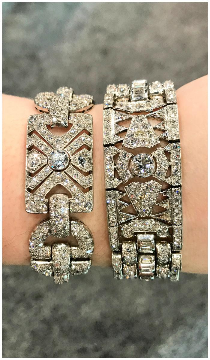 Two fantastic antique Art Deco diamond bracelets from Steve Fishman.