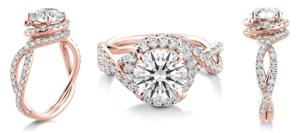 A beautiful rose gold and diamond engagement ring by Danhov.