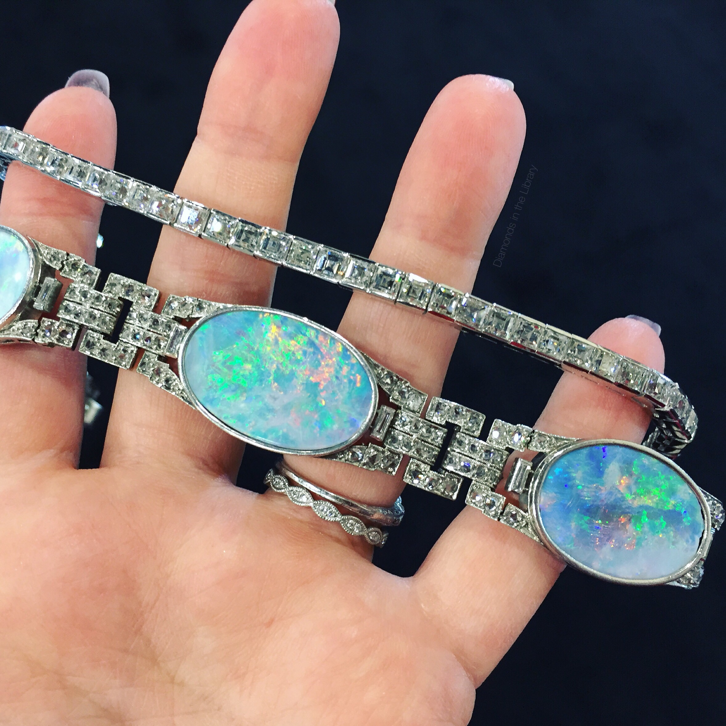Stunning opal and diamond bracelets from Geller and Co,; spotted at an antique jewelry show.