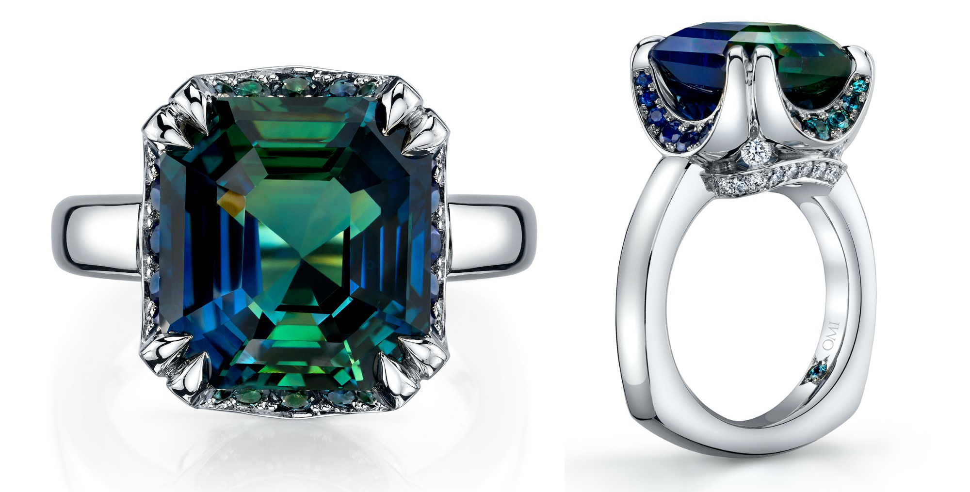 A beautiful ring with a12.69 carat emerald cut bi-colored sapphire, diamonds, and alexandrites. By Omi Prive.