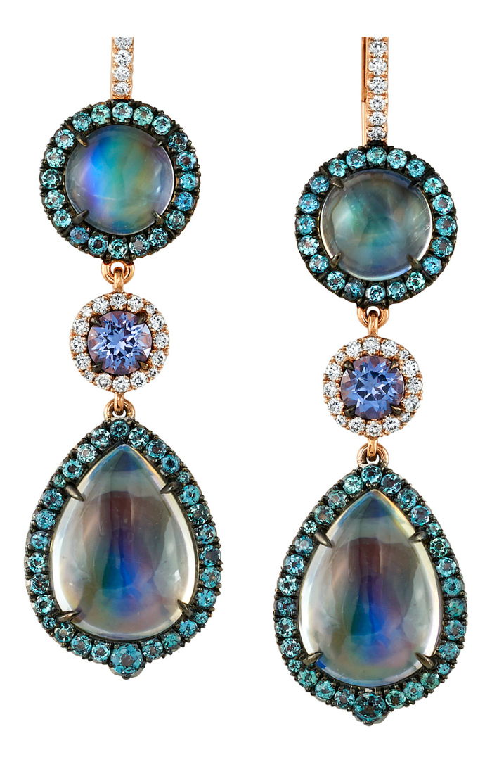 An irresistible pair of moonstone, spinel, alexandrite, and diamond earrings by Omi Prive.