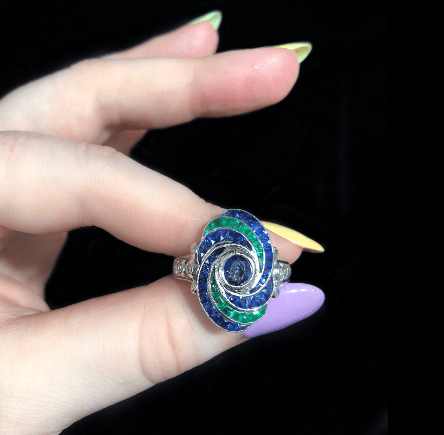 I love this emerald and sapphire ring from Beverley K! .