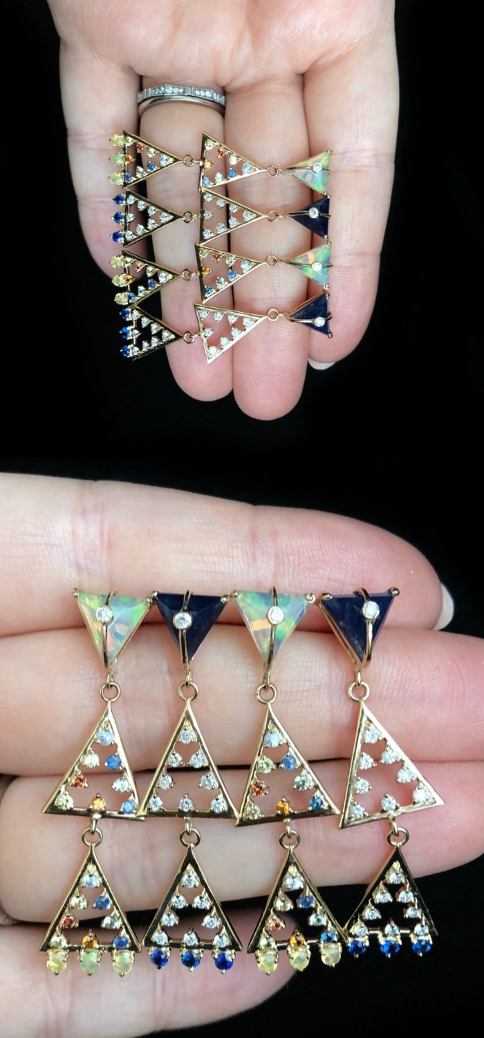I love these earrings from Loriann Jewelry's Moderne Collection! Opals, diamonds, lapis, and colorful sapphires.