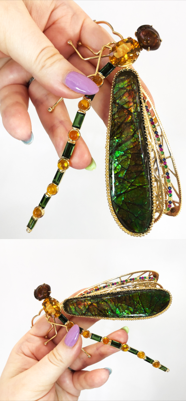 I love this dragonfly brooch by Brenda Smith Jewelry! With glorious opals and gemstones in gold.