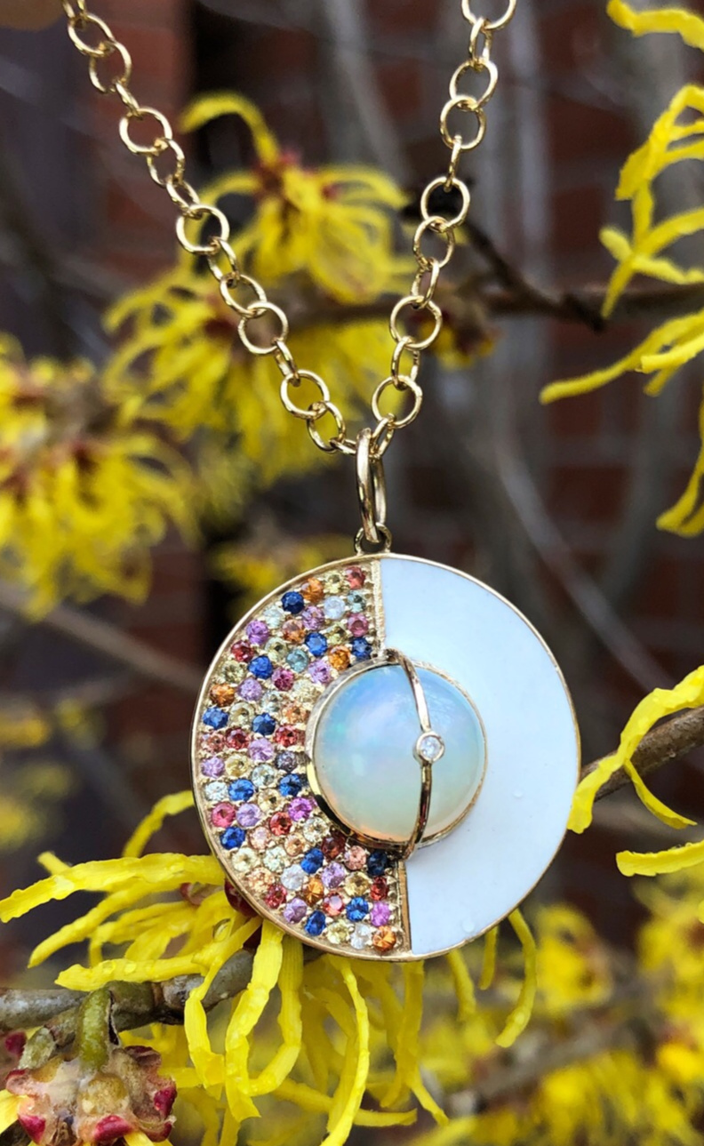 I love this rainbow necklace from Loriann Jewelry's new Unity Collection! Colorful sappphires, white enamel, and a beautiful opal in gold.