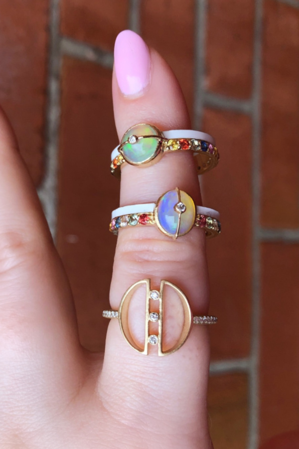 Stunning rings from Loriann Jewelry's latest collections! Diamonds, opals, rainbow sapphires, and white enamel on gold.