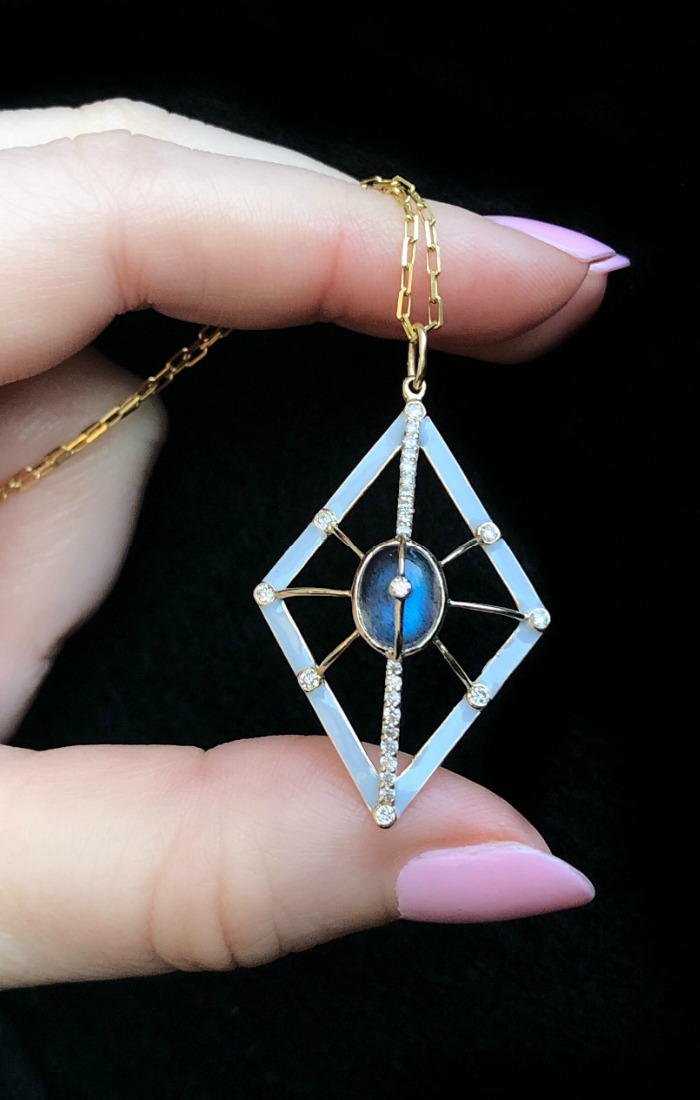 This pendant is so pretty!! Necklace from Loriann Jewelry's Galaxy collection, with diamonds, labradorite, and enamel.