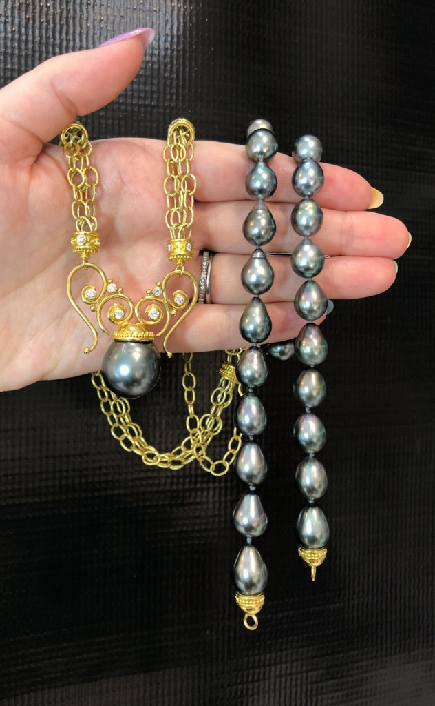 Two glorious 22K yellow gold and Tahitian pearl necklaces by Valerie Naifeh!