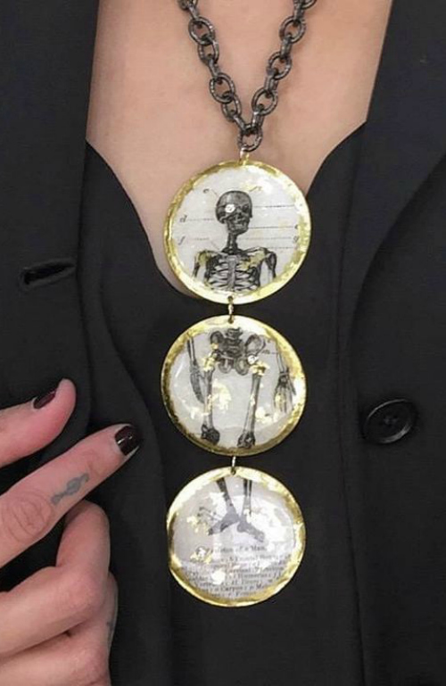 A skeleton necklace by Evocateur, posted on JA New York's Instagram!