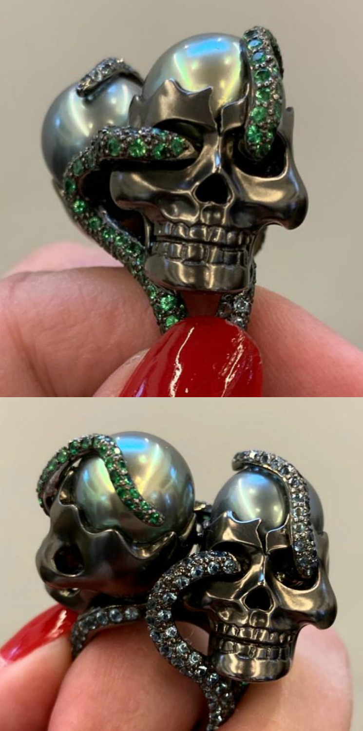 An incredible skull and snake ring by Lydia Courteille.