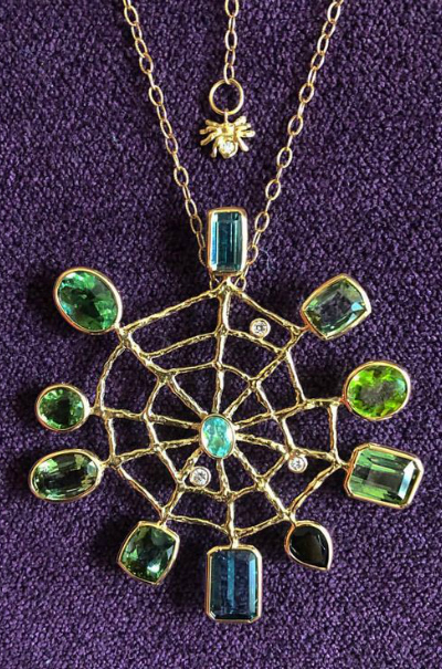 Stunning spider and spiderweb necklaces by Anna Ruth Henriques.