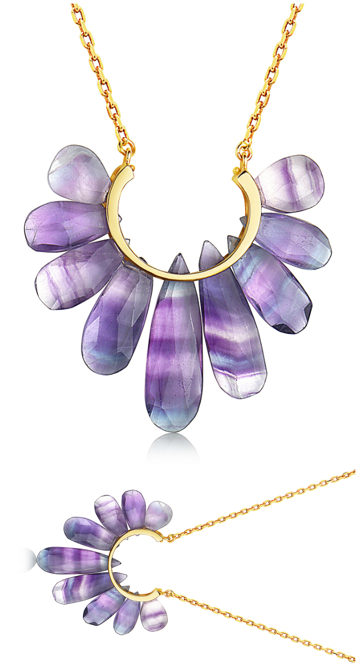 A beautiful gemstone necklace from the Rachel Atherley Peacock collection. That pretty purple gem is fluorite!
