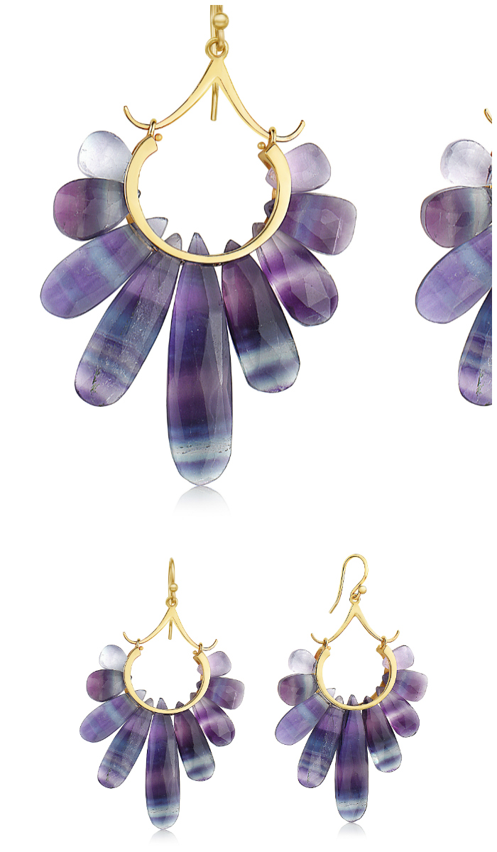 Fluorite and gold earrings from the Rachel Atherley Peacock collection.