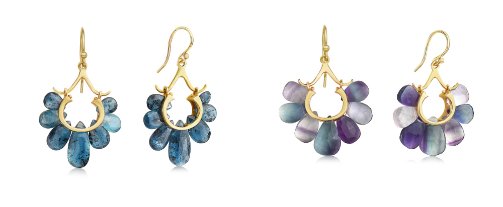Fluorite and kyanite earrings from the Rachel Atherley Peacock collection.