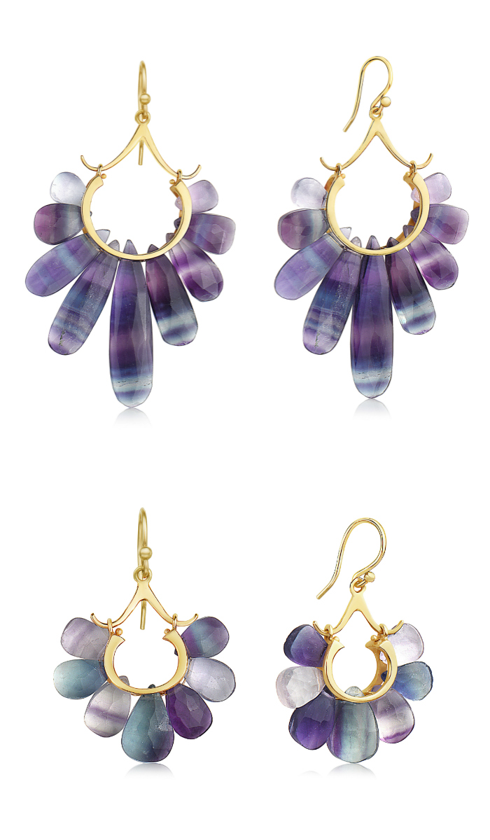 Two pairs of fluorite and gold earrings from the Rachel Atherley Peacock collection.