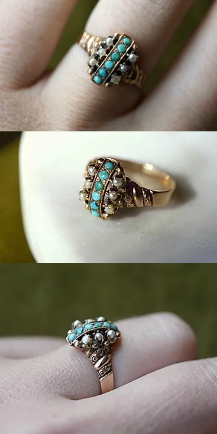 A lovely Victorian era ring with turquoise and pearls. Antique and rare!