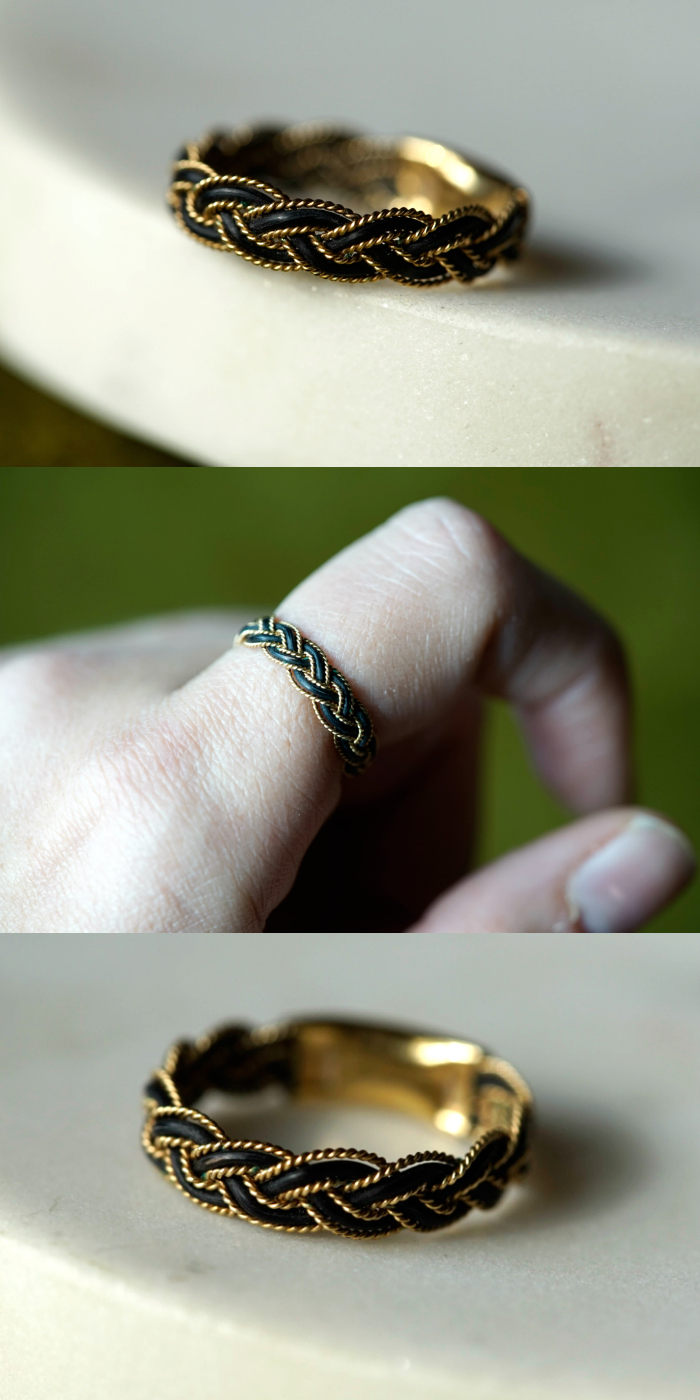An antique Victorian era elephant hair and gold ring.