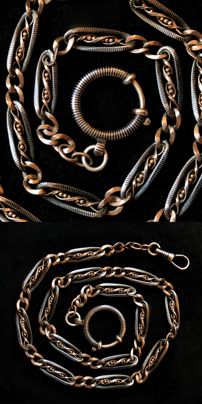 My beautiful Victorian era Niello watch chain. Rose gold details and a big, beautiful spring ring