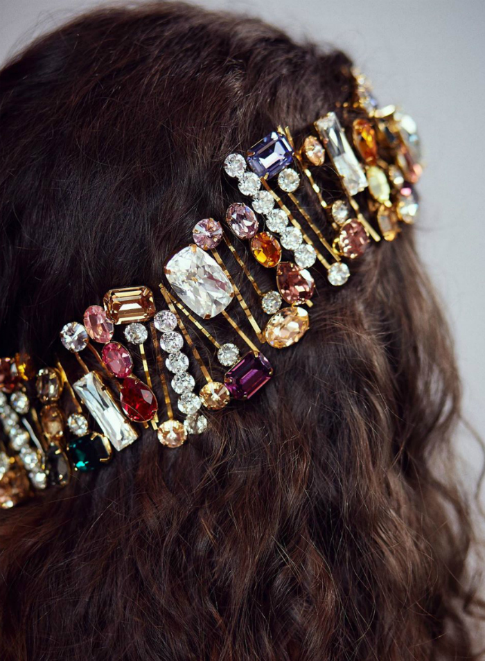 An incredible jewel hair style from Jennifer Behr! I love the waterfall of sparkling hair clips.