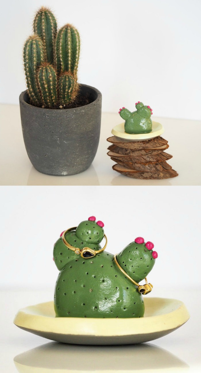 Super cute hand-painted cactus jewelry holder rings dish from Paint My Dream