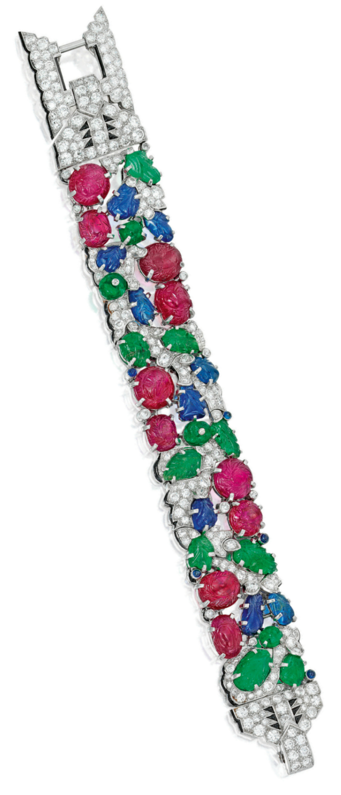 A rare Art Deco Cartier Tutti Frutti bracelet, circa 1930. Diamonds with carved rubies, emeralds, and sapphires.