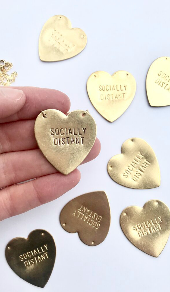 I love this Socially Distant heart necklace by Bang-Up Betty.