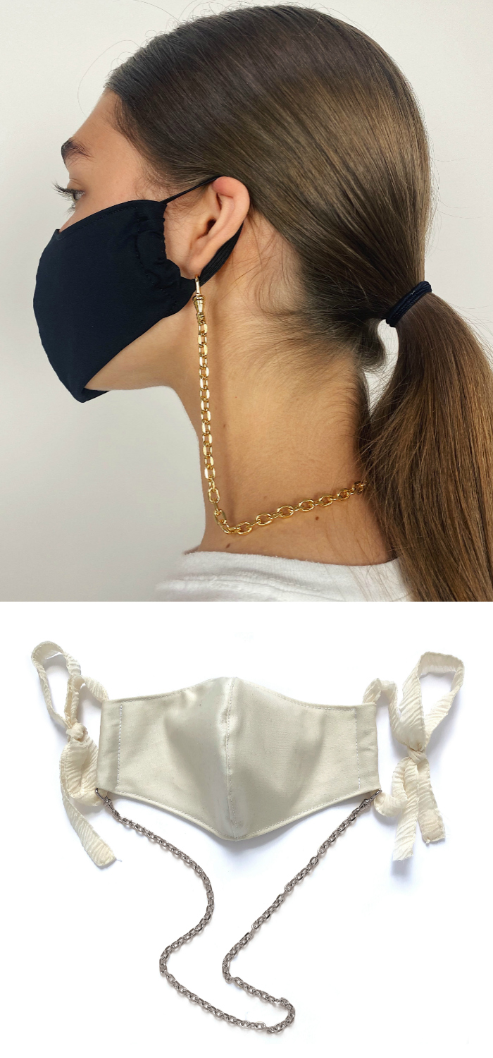 The Lady Grey mask chain in acion! This chic chain will keep your mask safely in place when you're not wearing it.