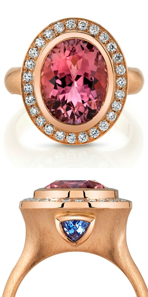 A beautiful rose gold ring with a 4.63 carat oval pink tourmaline and tanzanite. By Omi Prive.
