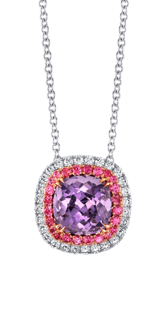 Platinum and 18K rose gold pendant with a 3.35 carat purple cushion spinel accented with pink spinels diamonds. By Omi Prive.