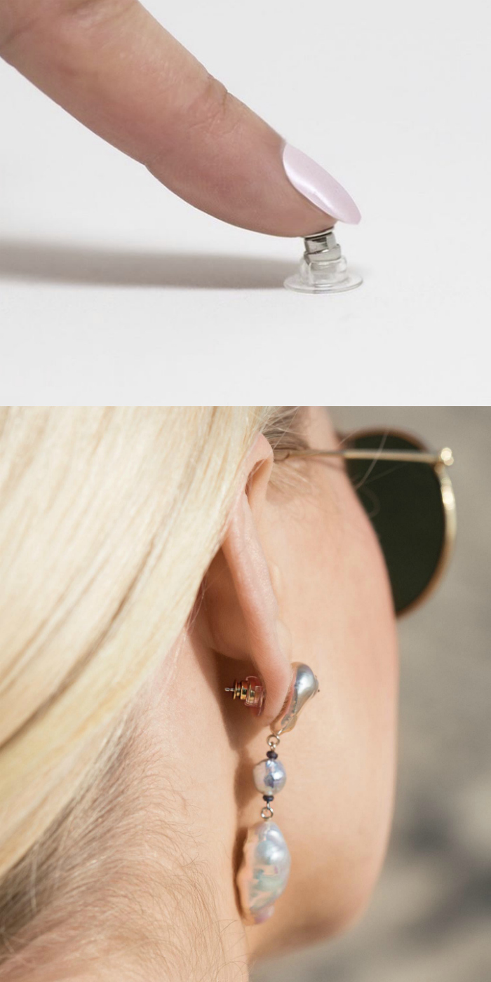 The Chrysmela catch is precision engineered to make sure your earrings never fall off! Never lose an earring again.