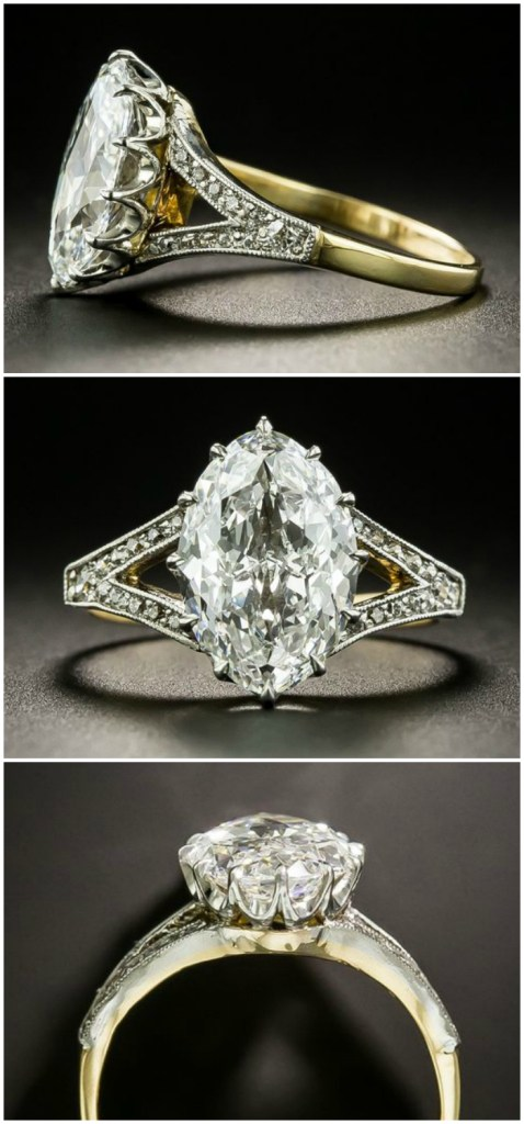 A rare and beautiful Edwardian era antique 2.86 carat moval diamond engagement ring! From Lang Antiques.