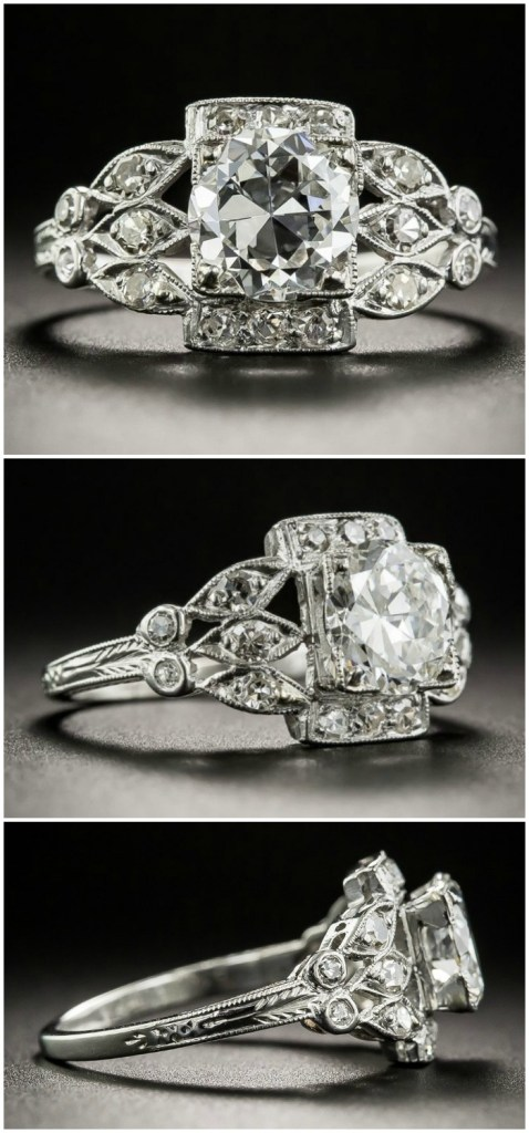 A stunning 1.28 carat diamond Art Deco engagement ring. From Lang Antiques.