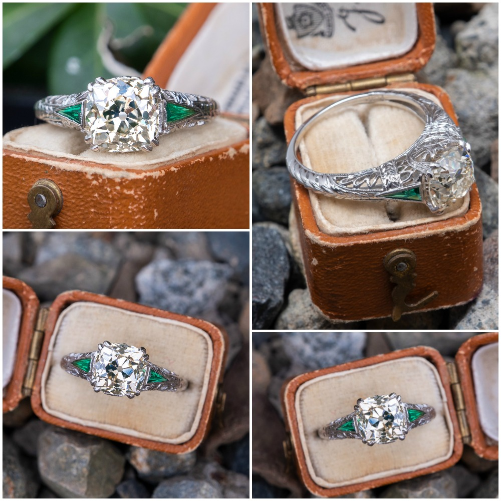 A wonderful antique engagement ring from Era Gem, with synthetic emerald side stones and a 2 carat antique diamond.