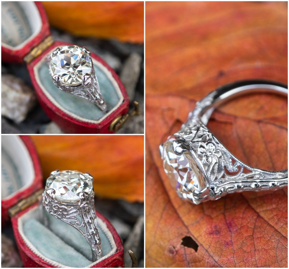 An exquisite antique engagement ring from Era Gem with a 3 carat Old European cut diamond.