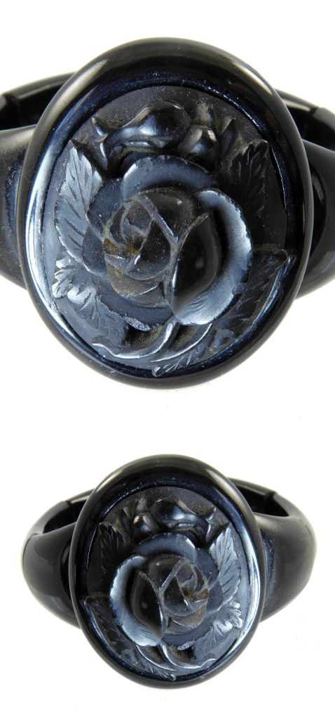 Antique Whitby jet mourning bracelet with carved rose. From Lisa Kramer Vintage.